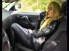 Sienna Lane 4 - Leathergirl Smoking in a Car