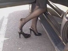 Black patent Baby Doll high heels & RHT stockings